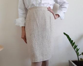 """GENNY Vintage Beige Pencil Skirt Womens Silk Skirt Short Skirt High Waisted Skirt Designer Skirt Work Skirt Office Skirt Small 26"""" Waist S"""