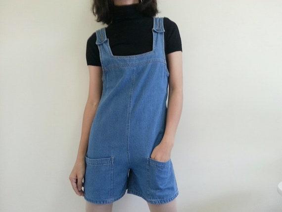 Vintage Blue Denim Romper Women Jeans Romper Short