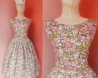 Novelty Dress Vintage Dress Women Dress 50s Dress 1950s Dress Rockabilly Dress Pin Up Dress Cotton Pleated Dress Knee Length Small Size 4