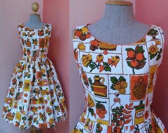 Pin Up Dress Women | Rockabilly Dress | Summer Dress | Sundress | Womens Dresses | Cotton Pleated Midi Dress | Novelty Print Dress | Small S