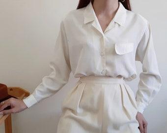 Vintage Cream Polyester Blouse Womens Summer Blouse Casual Blouse Spring Blouse Polka Dot Blouse Button Up Shirt Retro Top Medium Large M L