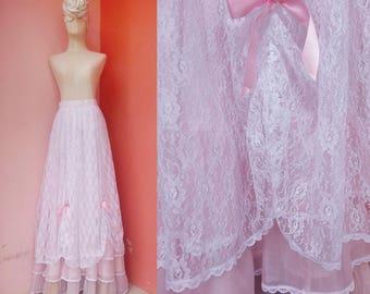 Pink White Lace Maxi Skirt Small | Vintage Long Skirt Women | High Waisted Skirt | Womens Ruffle Skirts | Organza Lace Skirt Maxi | 26 Waist