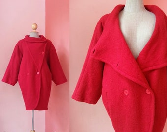 GUY LAROCHE Red Wool Coat Women Vintage Red Coat Womens Coats Collar Coat Designer Coat Winter Coat Double Breasted Coat Made In France