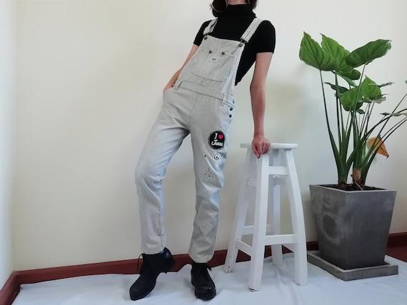 Vintage Striped Overalls Women Denim Overalls Jean
