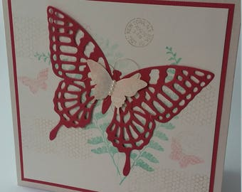 Large Butterfly handmade greeting card