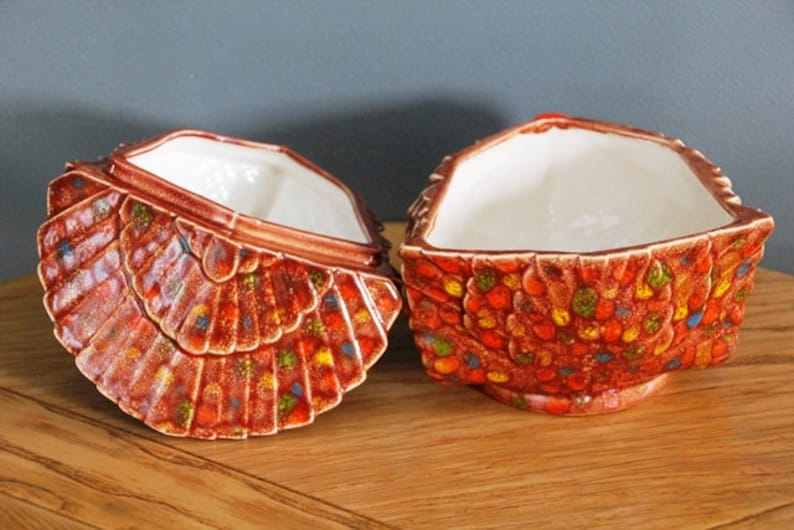 Mid century Thanksgiving Turkey serving dish bowl cranberries candy