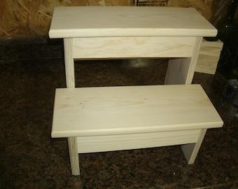 Handmade grownup step stool 12 high 2 step step stool wooden step stool step stool