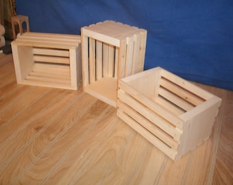 5 small wooden crates, wood crate, wooden storage crate, small slatted crate