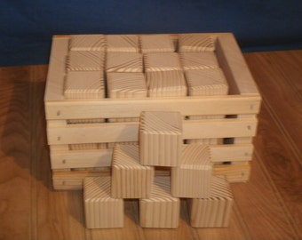 "unfinished wood blocks,26 wood baby blocks 1 1/2"" square with wood crate,alphabet blocks, craft blocks, baby shower activity blocks"