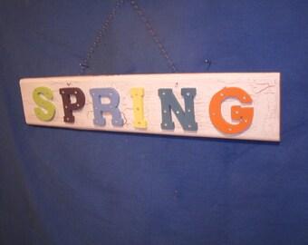 wooden spring decor, spring decor, wood spring sign, spring wall decor  HORIZONTAL