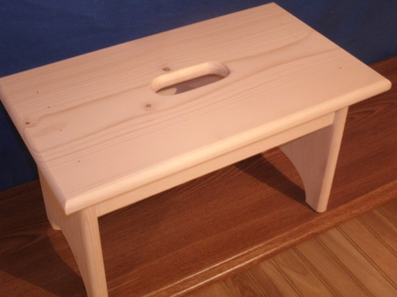 Fantastic Wooden Step Stool With Hand Hole Unfinished Unfinished Pine 9 Tall 16 Long Wooden Bench Bathroom Stool Dailytribune Chair Design For Home Dailytribuneorg