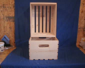 """wood crate  for L.P. Albums.  wooden crate 13"""" wide  unfinished wood crate, Record Crate, wood Box, wooden storage crate"""