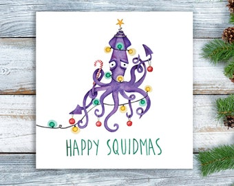 Weird christmas card etsy happy squidmas christmas card quirky alternative xmas pun card m4hsunfo