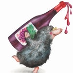 Funny Mulled Wine Christmas Card | Drunk, Cute Mole Alternative, Quirky Xmas Card