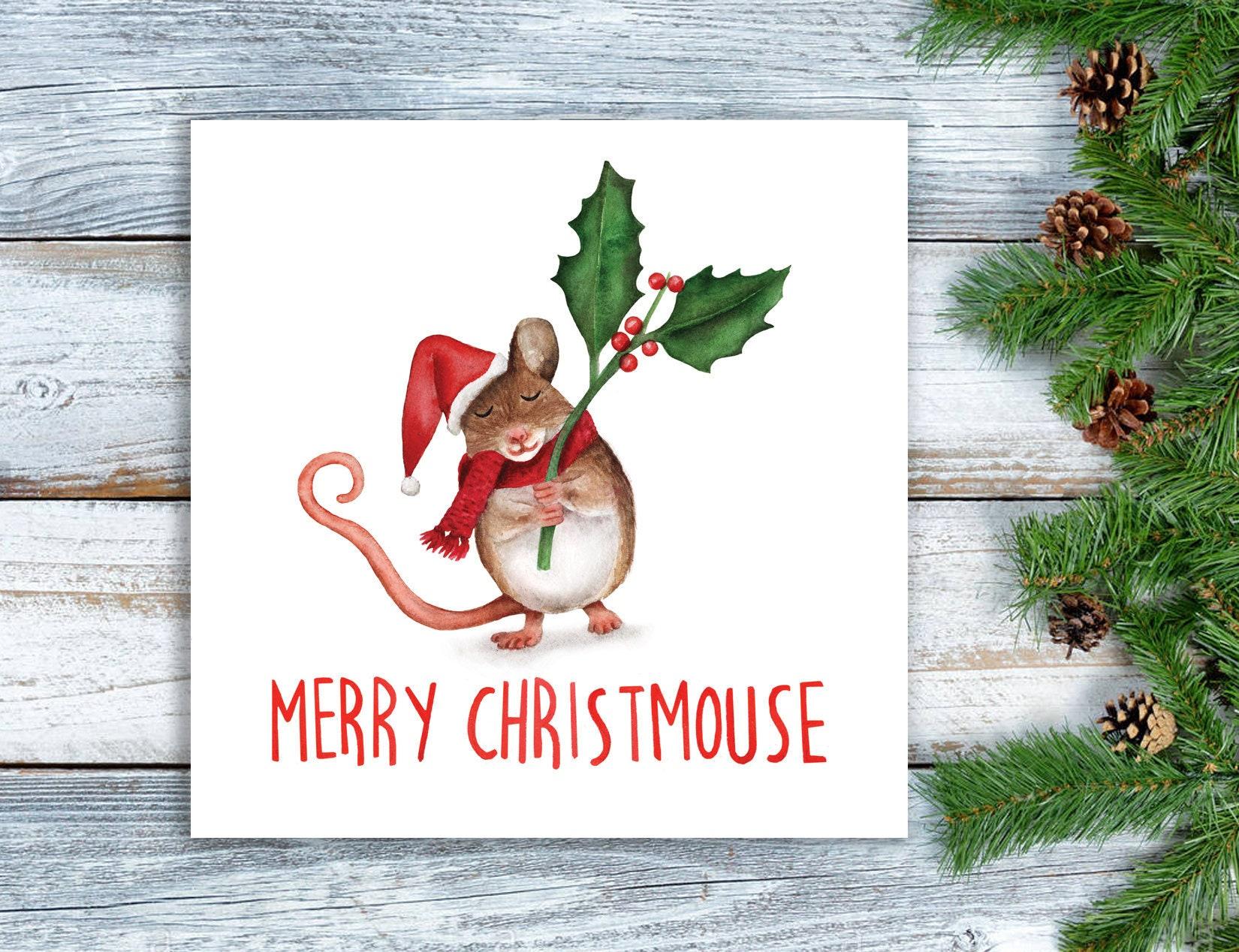 Funny Christmas Card Granny Grandma Xmas Card Cute Mouse Etsy