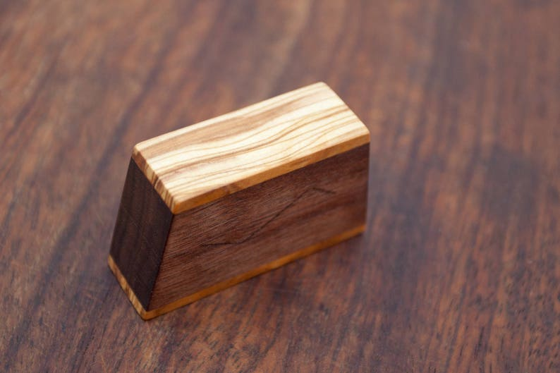 Ring box The Mountain made from walnut /& olive wood Made to order proposal ring box engagement ring box