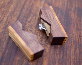 """Ring box """"The Mountain"""", made from walnut & olive wood - engagement ring box - proposal ring box - Made to order"""