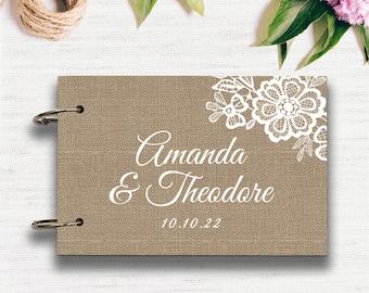 Rustic Romance Natural Burlap Wedding Guest Book
