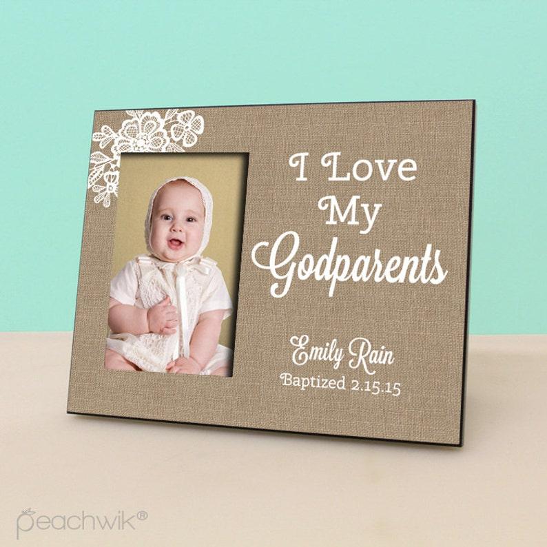 PF1123 Burlap Personalized Picture Frame Baptism Christening Gift I love my Godparents Godparents Frame Godmother Godfather gift