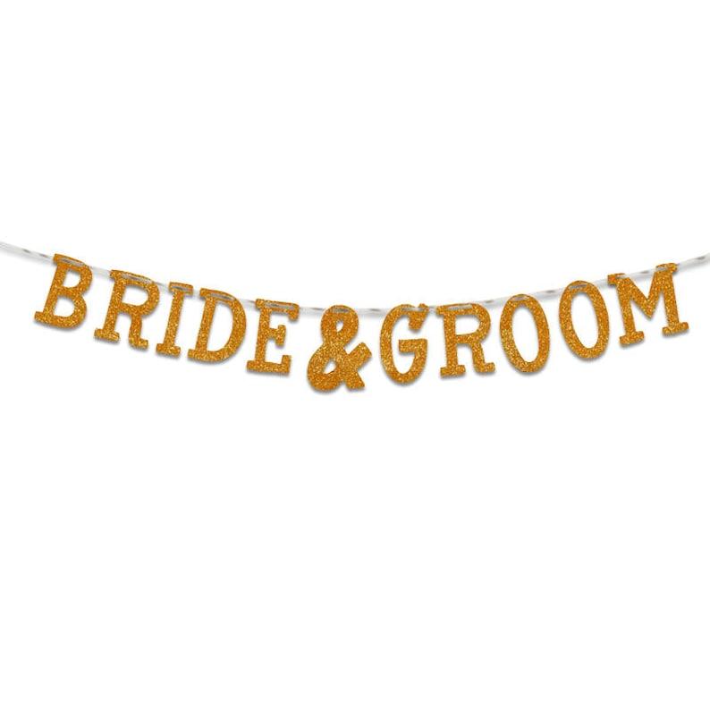 Party Decoration Party Banner UGB0132 Wedding Bride /& Groom Glitter Banner