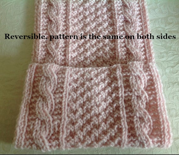 Scarf Knitting Pattern Reversible Cables And Box Stitches Etsy