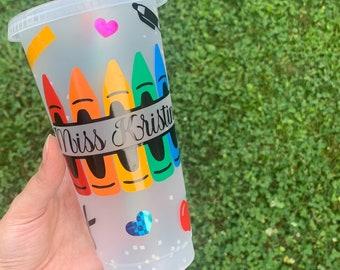 Custom Teacher Tumbler//Color Changing Confetti Cup