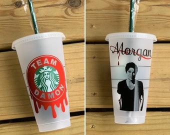 The Vampire Diaries Tumbler//Team Damon//Team Stefan//Team Klaus Starbucks Cup