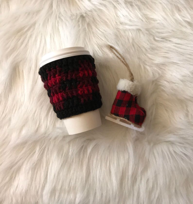 Red Buffalo Plaid Cup Cozy//Crocheted Cup Cozy image 0