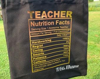 Teacher Nutrition Fact Tote//Custom Teacher Tote