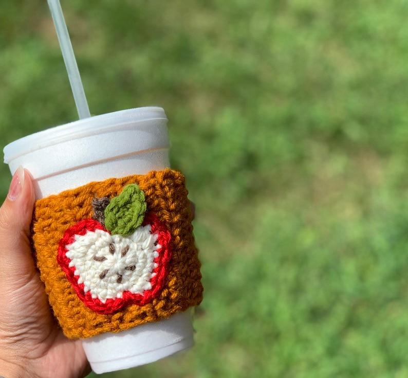 Apple Cup Cozy//Crochet Cup Sleeve//Teachers Gift image 0