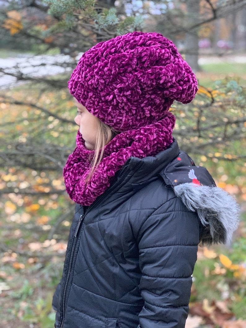 VELVET Cable Stitch Beanie & Cowl Set//Crochet Winter Set image 0