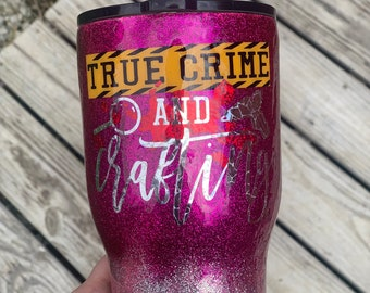 True Crime & Crafting 30oz Metal Tumbler (with flaws/discounted)
