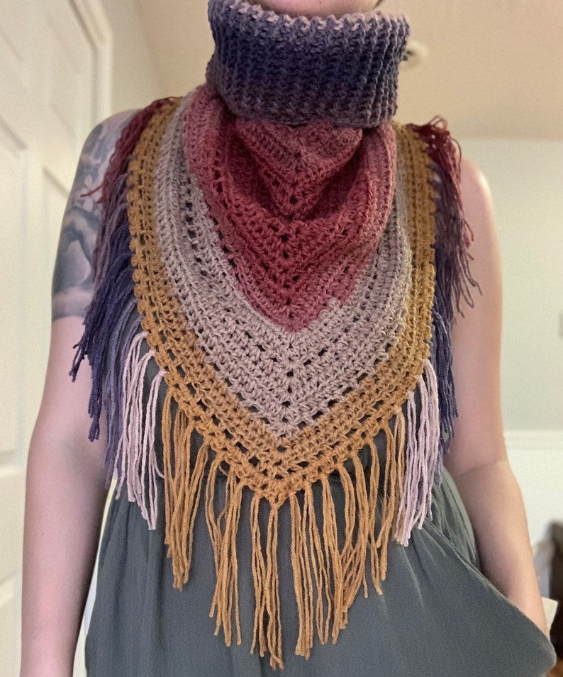 SALE  Cowl-Kerchief//Crochet Kerchief Cowl//Boho Cowl image 0