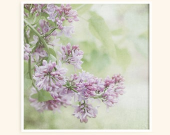 Lilac Flower Photography - Shabby Chic - Romantic Art - Pastel Purple - Dreamy Lavender Print - Victorian Decor - Bedroom Art - Square Print