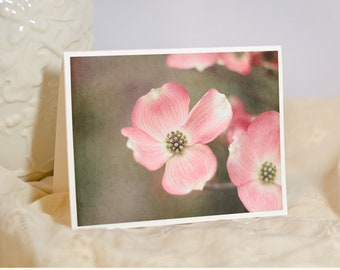Flower Photo Greeting Card - Pink Flower Picture - Dogwood Flowering Tree - Floral Photography - Nature Photo Notecard - Custom Card