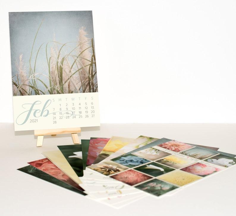 2021 Desk Calendar with Beautiful Pastel Flower Photos 5x7 image 0