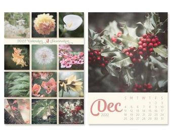 2022 Desk Calendar with Nature Photos, 5x7 Mini Easel Calendar, Teacher Gift Under 30, Small 5x5 Floral Photography for Gallery Wall Decor