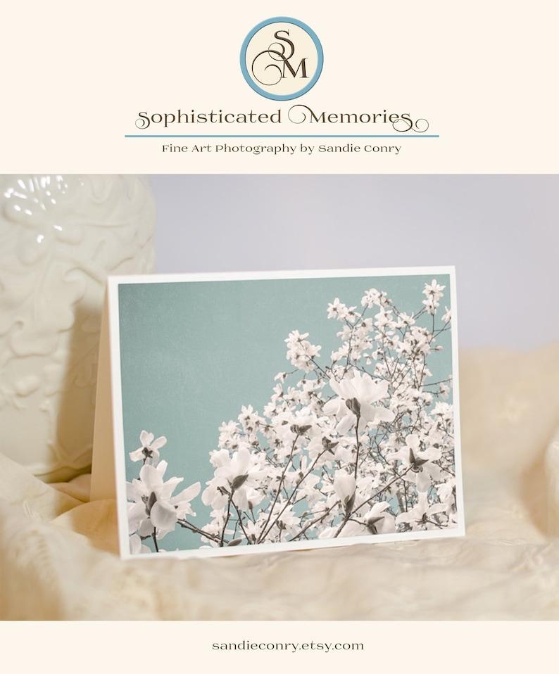 Magnolia Photo Notecard   Floral Greeting Card  Blue Sky image 0