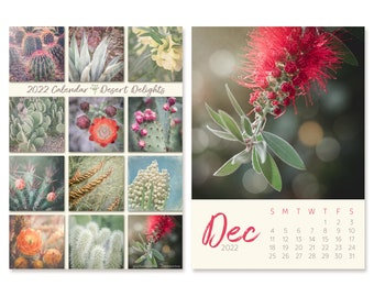2022 Desk Calendar with Desert Flower Photos, 5x7 Easel Calendar, Accessories for Home Office, Photography Gift for Her Christmas Stocking