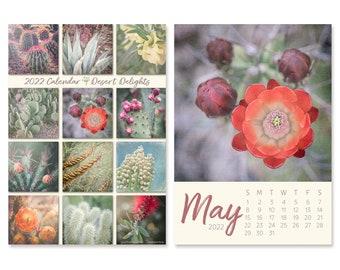 2022 Desk Calendar with Desert Photo Prints, Christmas Gift for Her, Southwest Decor Cactus Plants, 5x7 Easel Calendar for Home Office