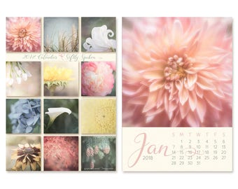 Gifts Under 30 - 2018 Desk Calendar - Flower Photography Calendar - With or Without Easel - 5x7 Flower Photo Calendar - Home Office Decor