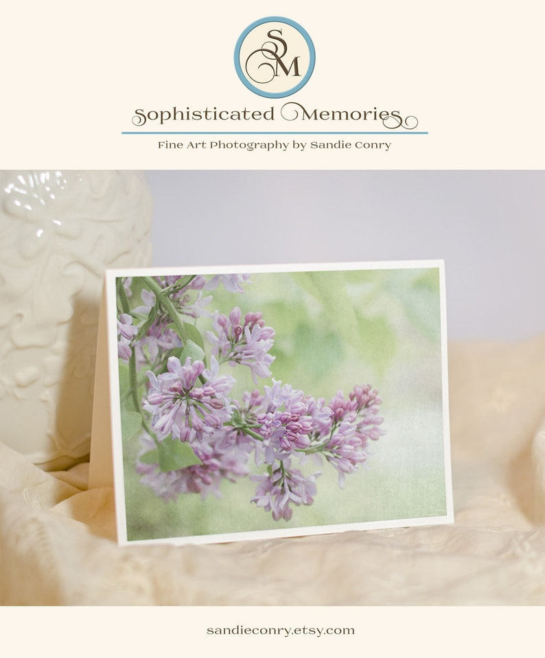 Floral Greeting Card  Lilac Photo Notecard  Fine Art Photo image 0