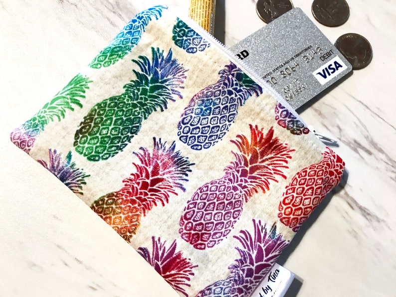 Mini Wallet Small Card Wallet Stocking Stuffer Pineapple Gifts Credit Card Wallet Small Womens Wallet Pineapple Coin Purse
