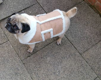 4d77bae2c13 MED LARGE dog coat faux sheepskin fleece lining fits 22 24