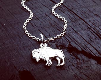 Women's Bison Necklace | Buffalo Hunting Necklace | Hunting Season Gift | Huntress Necklace | Archery Necklace | Gift For Buffalo Huntress