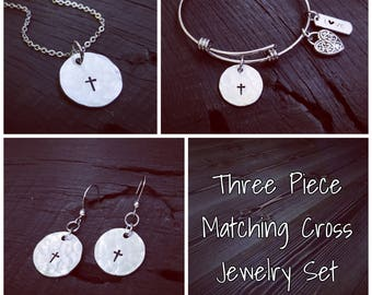 Three Piece Cross Jewelry Set   Religious Jewelry   Baptism Gift   Confirmation Gift   First Communion Gift   Catholic Jewelry Gift Set