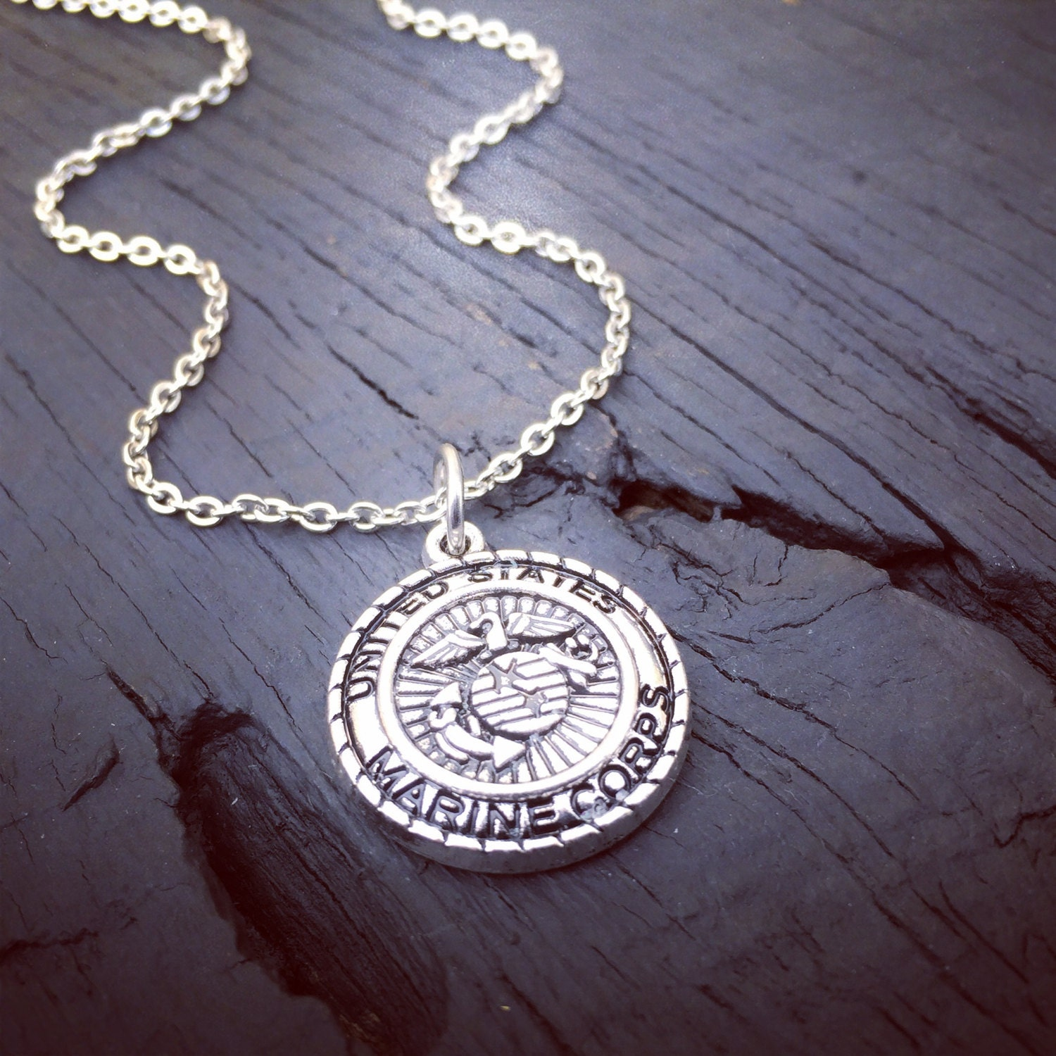 marine corps charm necklace marine corps wife jewelry etsy. Black Bedroom Furniture Sets. Home Design Ideas