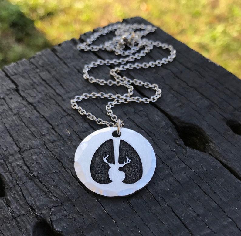 Buck /& Track Necklace Hunting Season Hoof Print Gift For Hunter Huntress Deer Hunting Jewelry Deer Tracks First Buck  