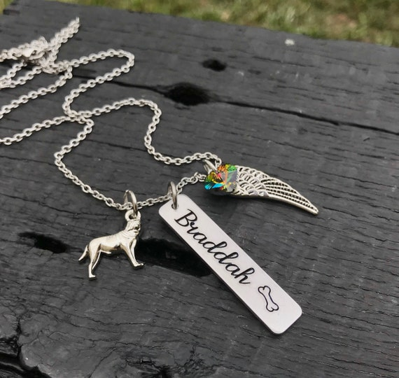 Read Full Listing Details Pit Bull Jewelry Pit Bull Angel Pit Bull Cropped Ears Pet Memorial Jewelry Pit Bull Memorial Necklace