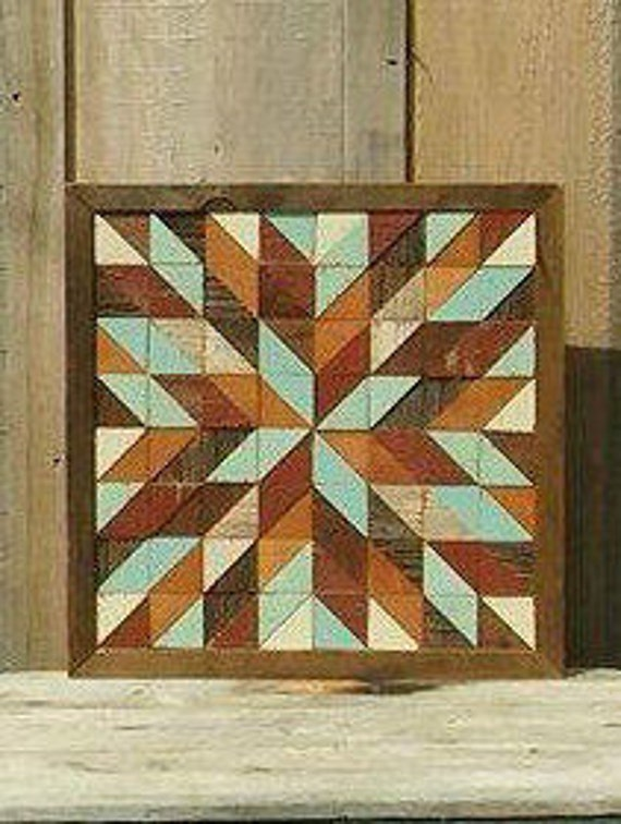Barn Quilt Block Salvaged Wood Barn Quilt Geometric Wall